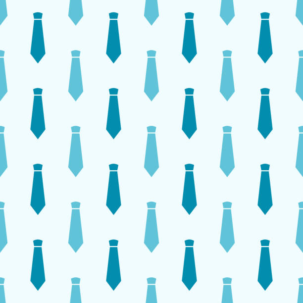 vector seamless pattern with blue neckties - tie stock illustrations, clip art, cartoons, & icons