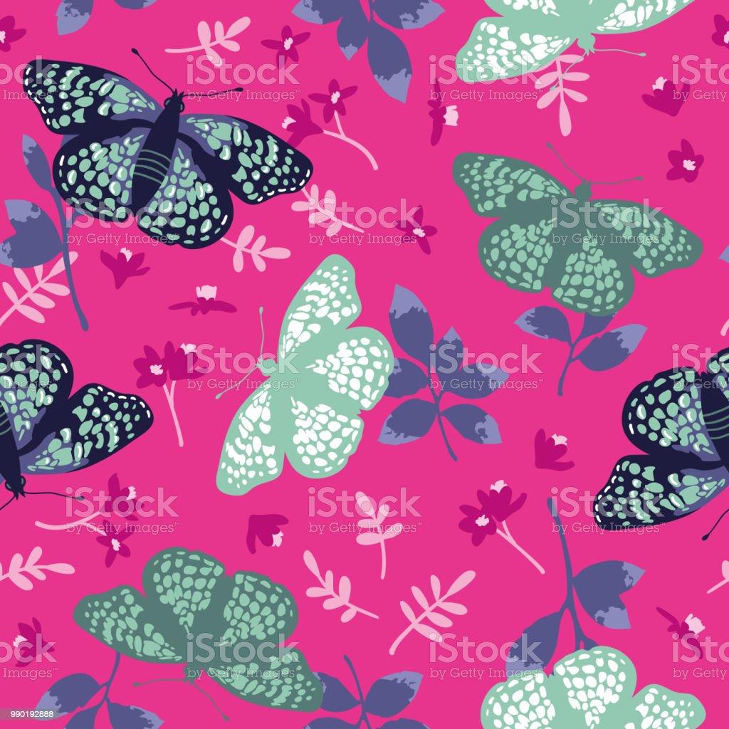 Ilustración de Patrón Transparente De Vector Con Mariposas ...