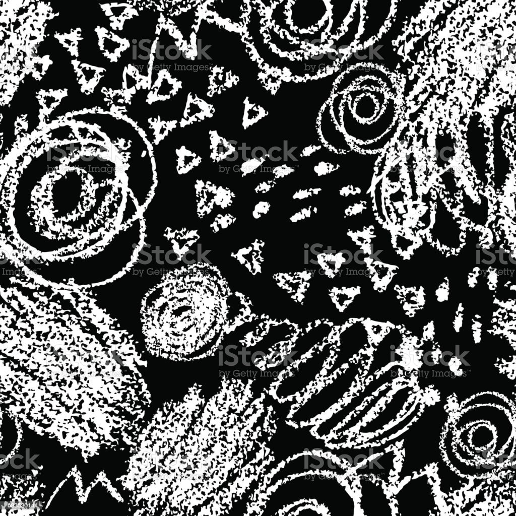 Vector seamless pattern with brush strokes and dots white color on black background hand painted grange texture ink geometric elements fashion modern
