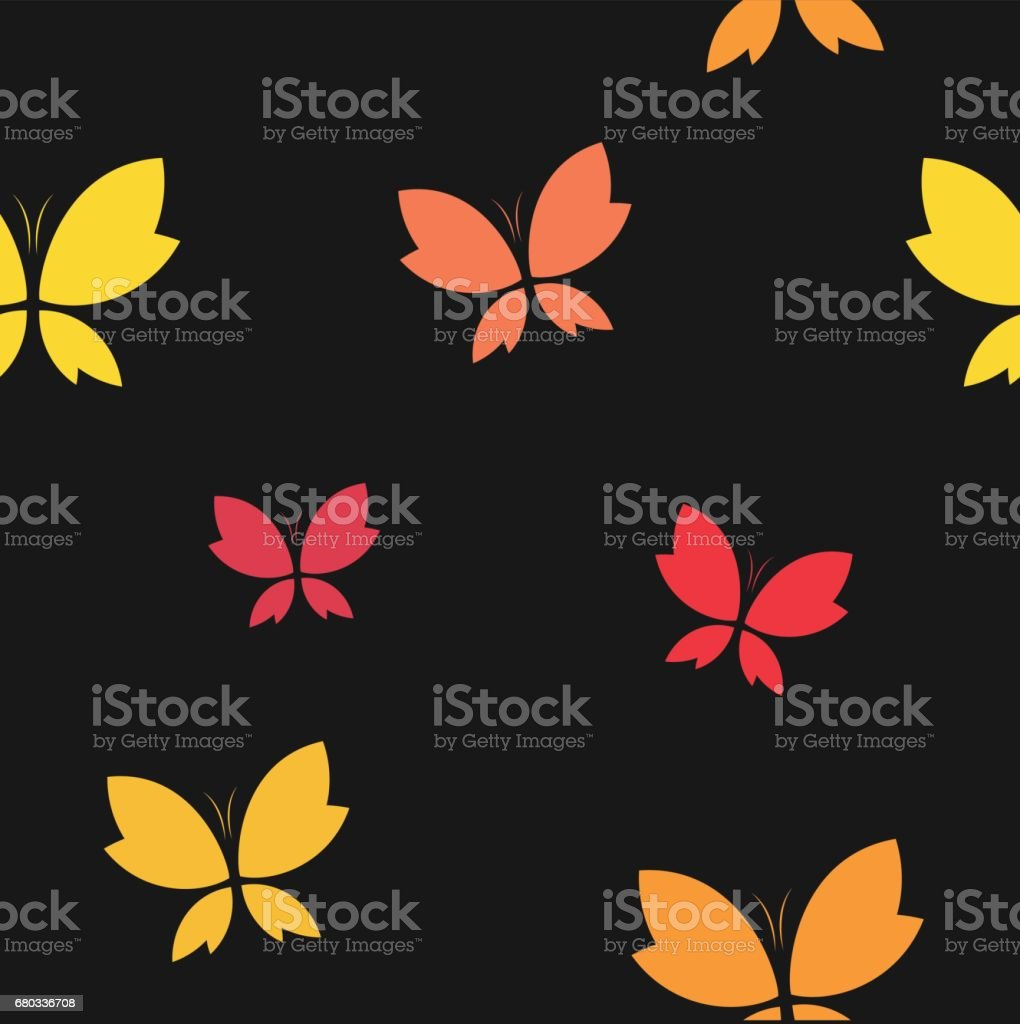 Vector Seamless Pattern With Butterfly On Black Background Wallpaper Royalty Free