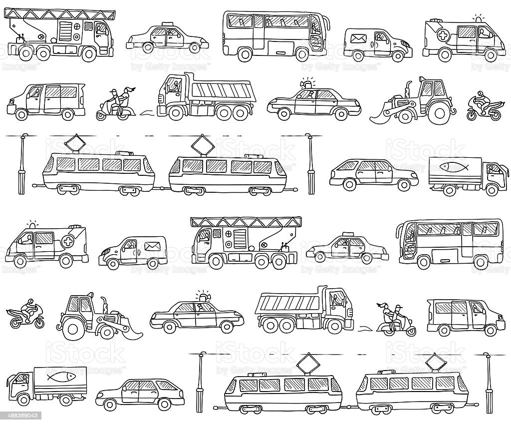 Vector seamless pattern with cars. Traffic. vector art illustration