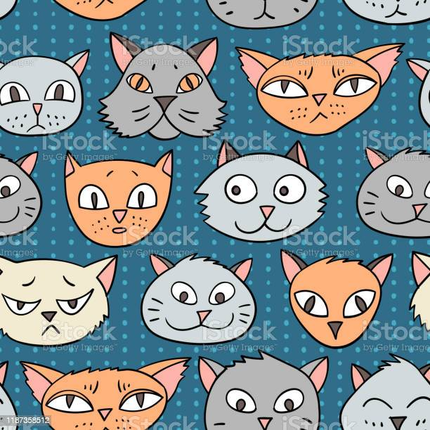 Vector seamless pattern with cartoon cats vector id1187358512?b=1&k=6&m=1187358512&s=612x612&h=cxgyildvakuun i8mxpgs4ptooszhqd3t 0bc qx 00=