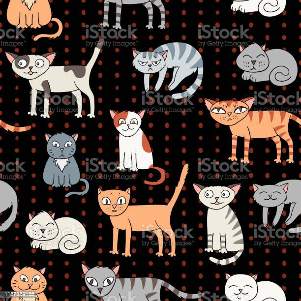 Vector seamless pattern with cartoon cats vector id1187359188?b=1&k=6&m=1187359188&s=612x612&h=07cekzqpixenfshlzjc9enwkacvu2ktels8biqxkhym=