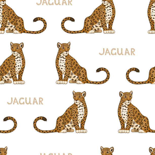 vector seamless pattern with cartoon jaguars. colored seamless background - jaguar stock illustrations