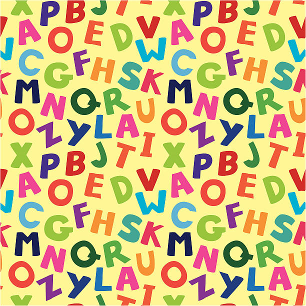 vector seamless pattern with cartoon letters - alphabet backgrounds stock illustrations