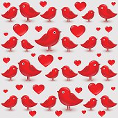 Vector seamless pattern with cartoon red birds.