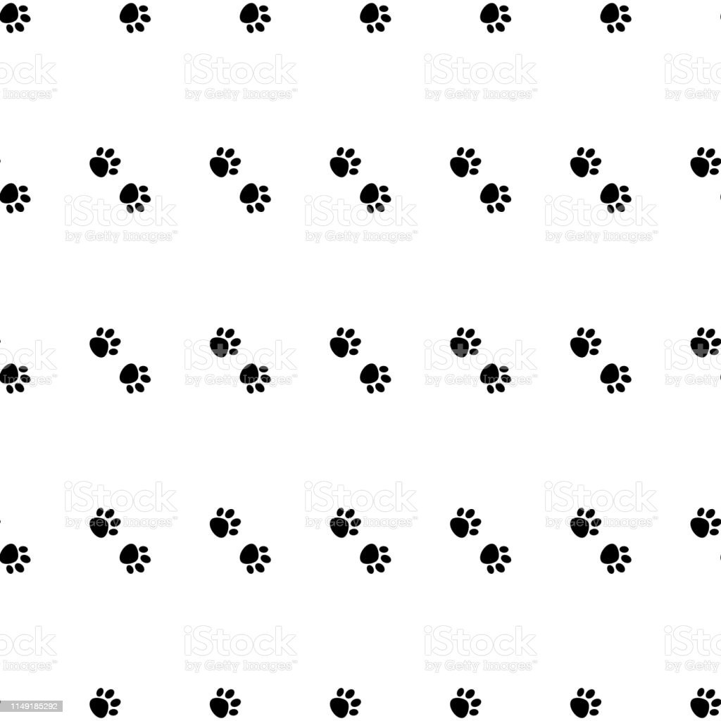 Black and white Cat Paw Dog Paw vector seamless repeat pattern ....