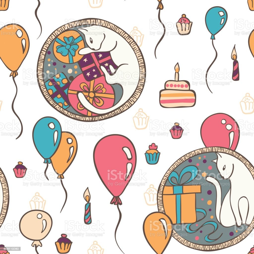 Vector Seamless Pattern With Cats And Birthday Cakes Royalty Free