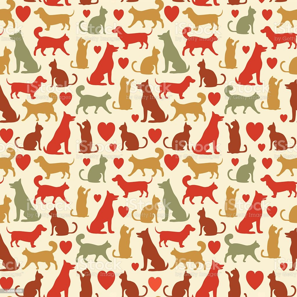 Vector seamless pattern with cats and dogs vector art illustration
