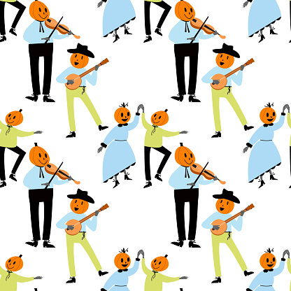 Vector seamless pattern with characters on the theme of halloween.