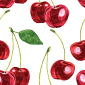 vector seamless pattern with watercolor drawing cherry, hand drawn vector illustration