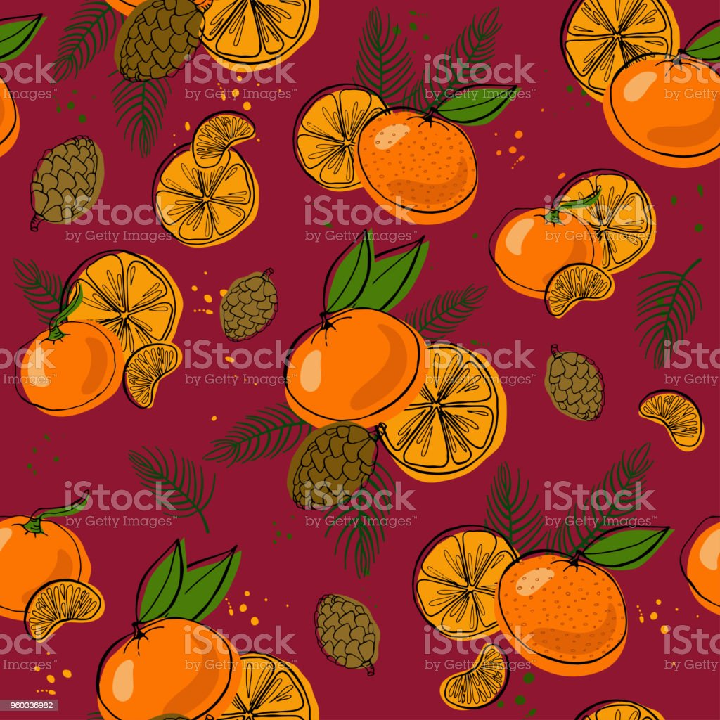 Vector seamless pattern with christmas decoration: tree, balls, tangerines and cone. vector art illustration