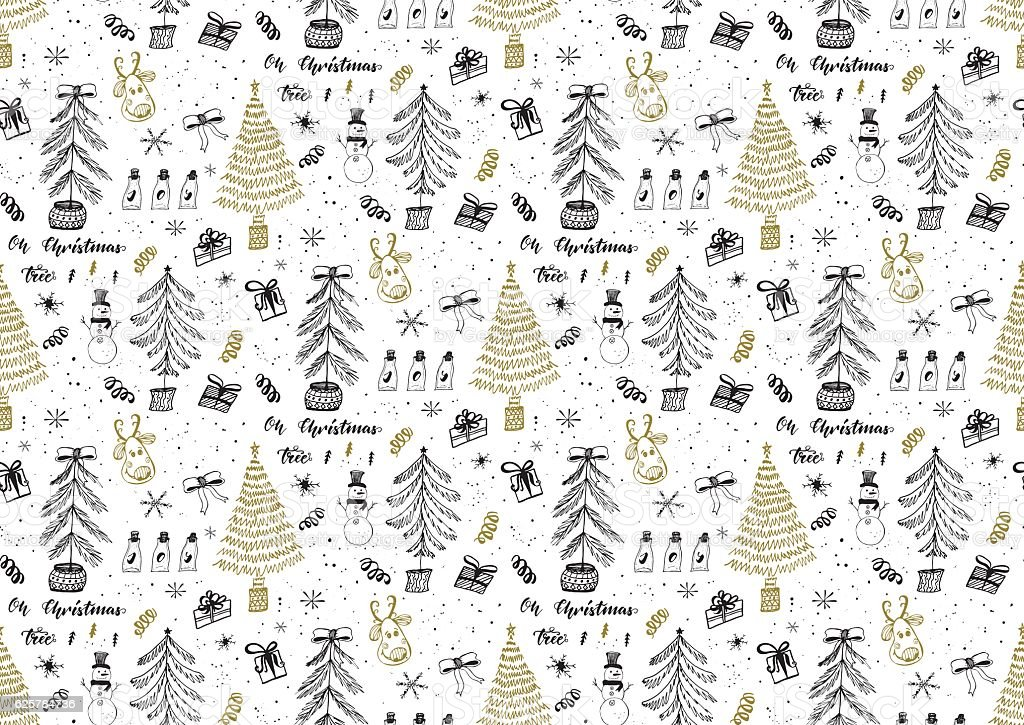 Vector seamless pattern with Christmas trees forest vector art illustration