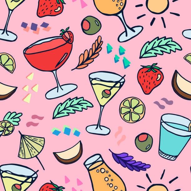 Vector seamless pattern with cocktails. vector art illustration