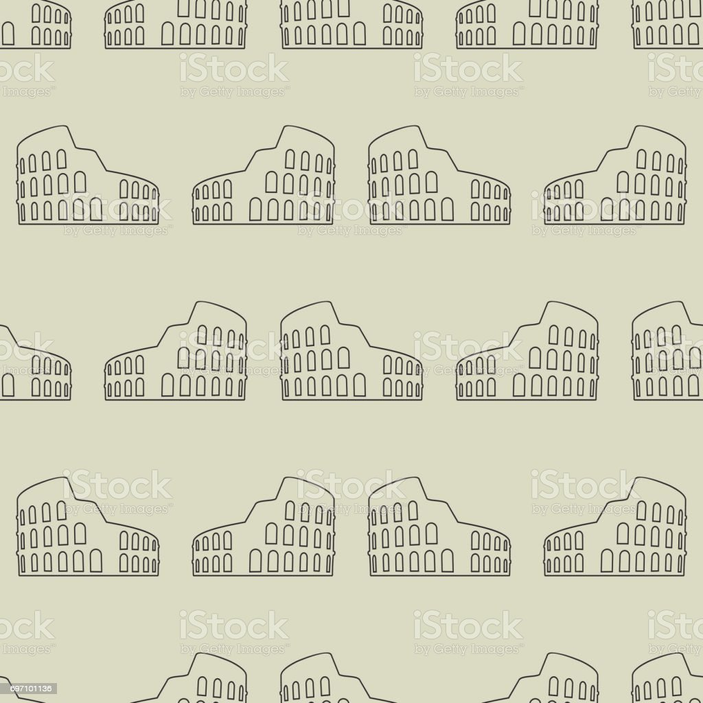 Vector seamless pattern with coliseum vector art illustration