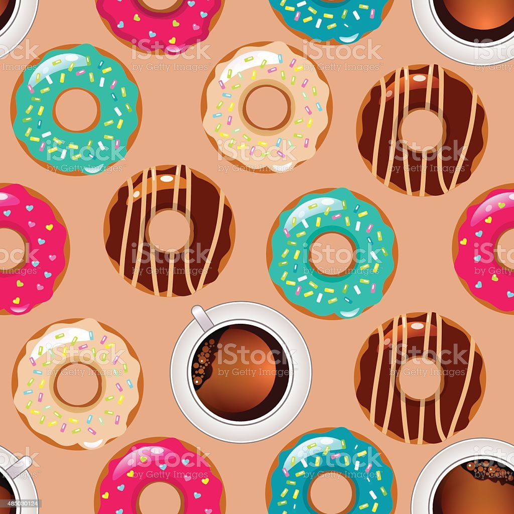 vector seamless pattern with color donuts vector art illustration