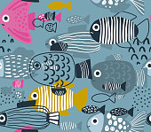 Vector seamless pattern with funny fishes in abstract style