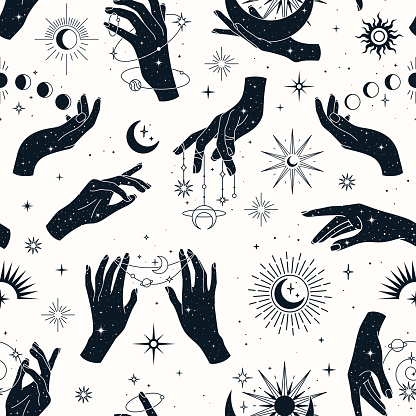 Vector seamless pattern with couple and single hands, planets, constellations,  sun, moons and stars.