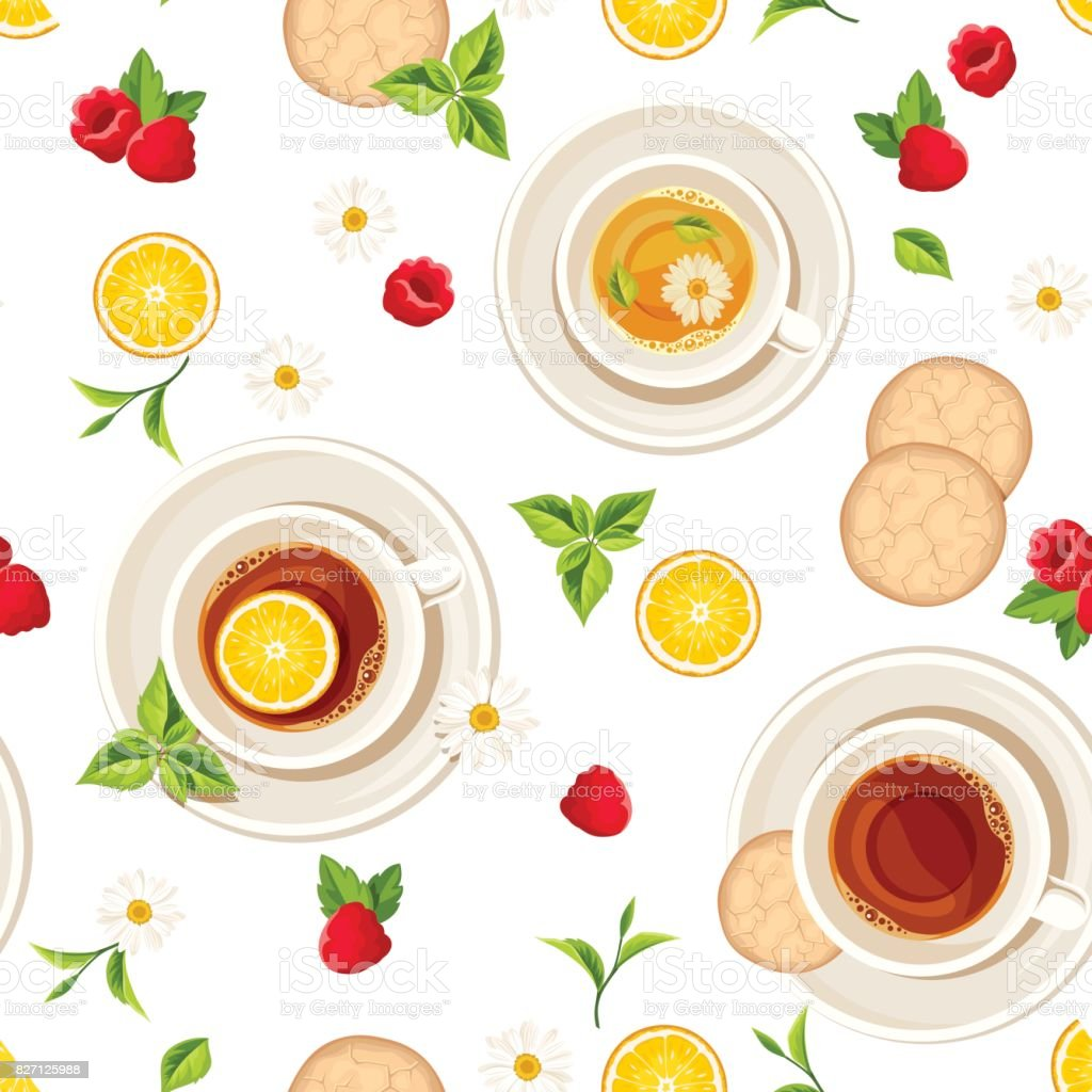 Vector seamless pattern with cups of tea, fruits and leaves. vector art illustration