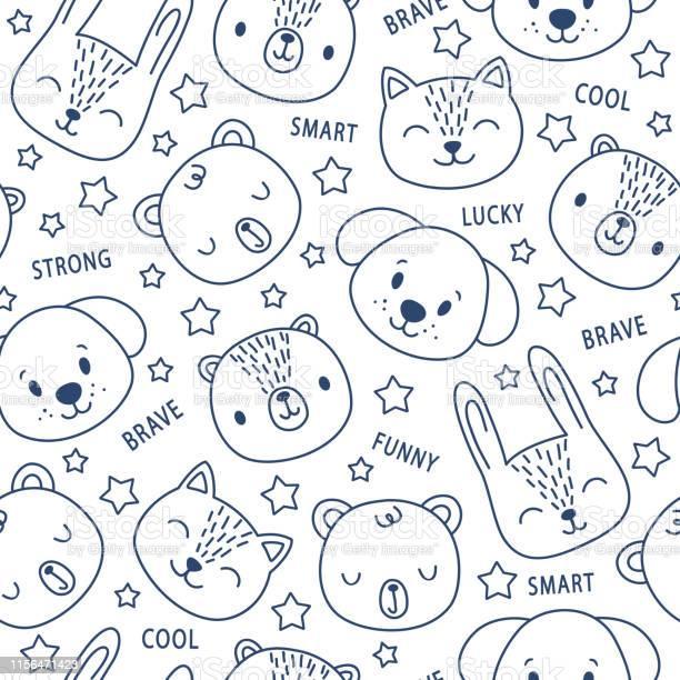 Vector seamless pattern with cute cartoon animals doodle cat bear vector id1156471423?b=1&k=6&m=1156471423&s=612x612&h= ffxqnjmwnfb3ngpnosmughimelsod2oyttfss6nz8w=