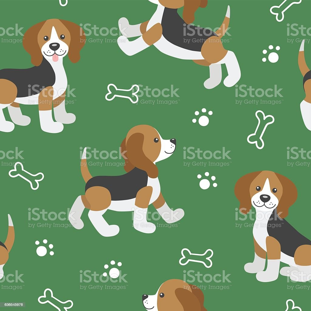 Vector seamless pattern with cute cartoon dog puppies.Beagle dog - ilustración de arte vectorial