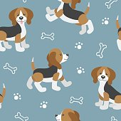 Vector seamless pattern with cute cartoon dog puppies.Beagle dog