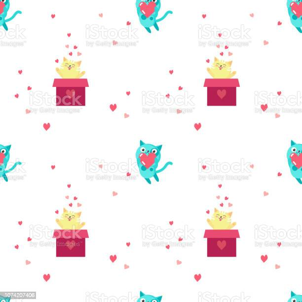 Vector seamless pattern with cute cats in love vector id1074207406?b=1&k=6&m=1074207406&s=612x612&h=l6wecsmwnqmj7wt3infzhthkngnzh6eguvyfbwkfi8w=