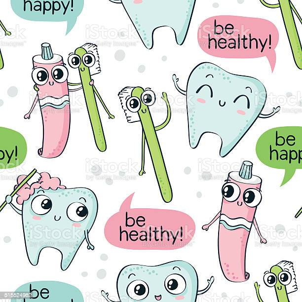 Vector seamless pattern with cute characters tooth brush paste vector id515524982?b=1&k=6&m=515524982&s=612x612&h=v3jncamlxp6rw74xhgzbjjfgssd6zcdqbn9dyc9kcqe=