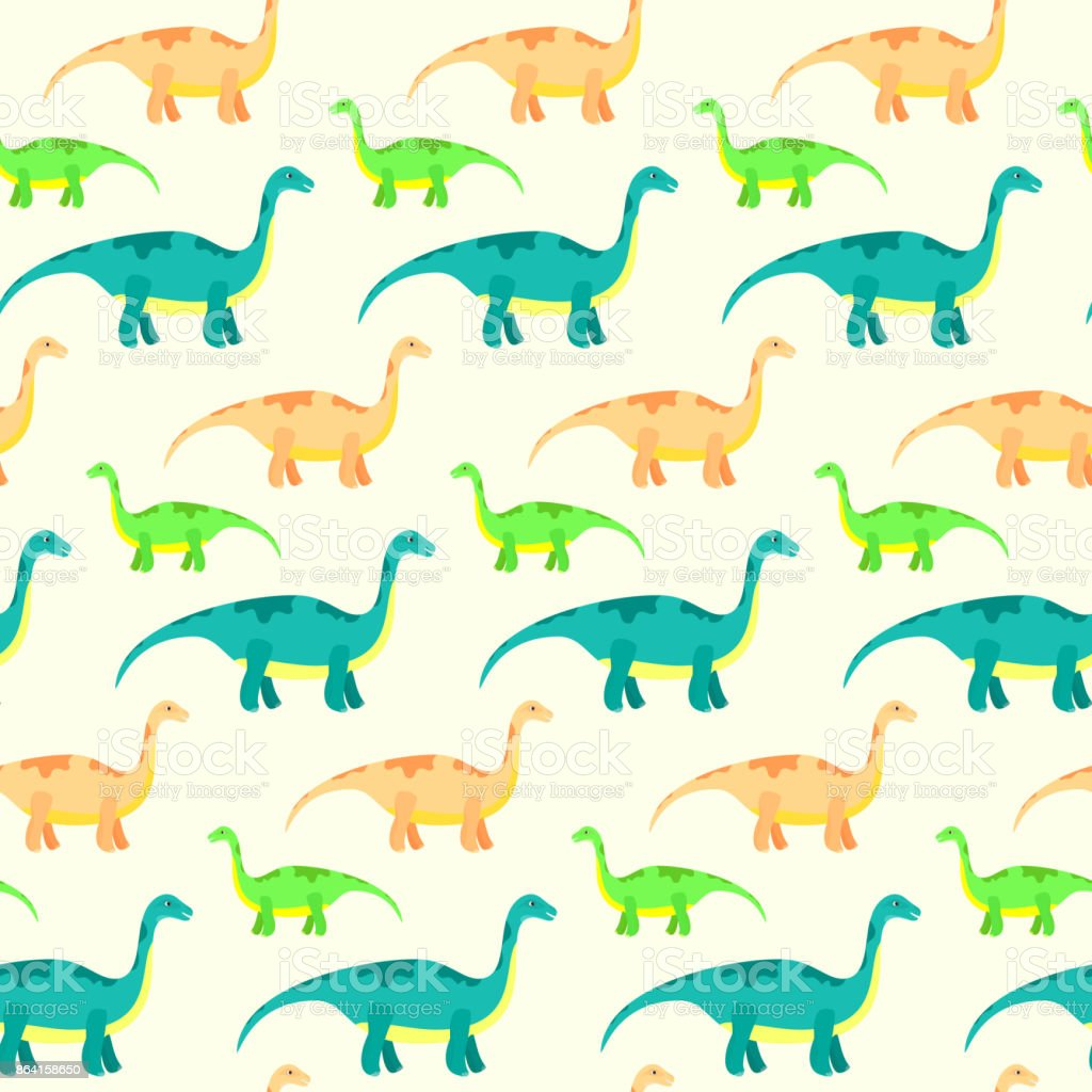 Vector seamless pattern with cute diplodocus dinosaurs royalty-free vector seamless pattern with cute diplodocus dinosaurs stock vector art & more images of ancient