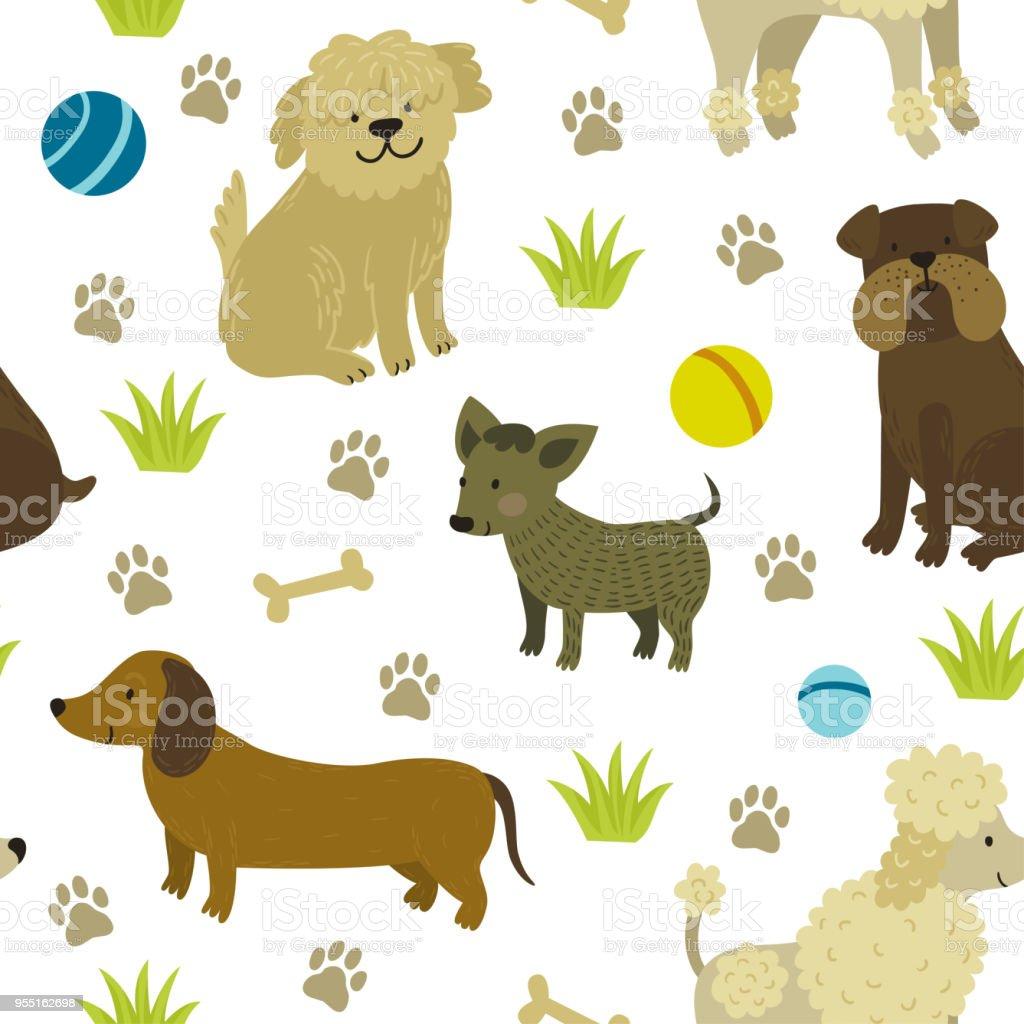 Ilustración De Patrones Sin Fisuras De Vector Lindo Perros Bulldog