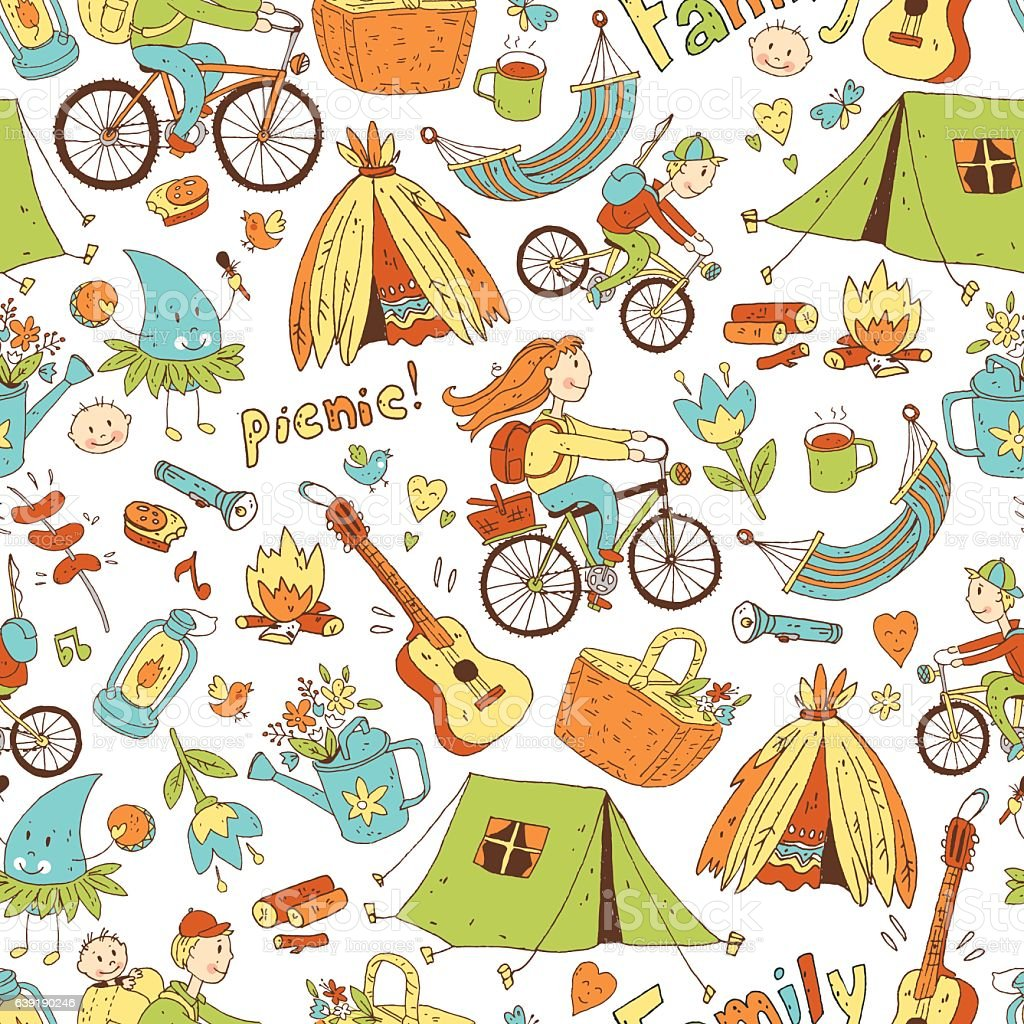 Vector seamless pattern with cute doodle family. Equipment for c vector art illustration