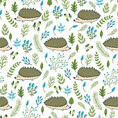 Vector seamless pattern with cute hedgehogs and floral elements. Hand drawing forest texture with smiling animals.