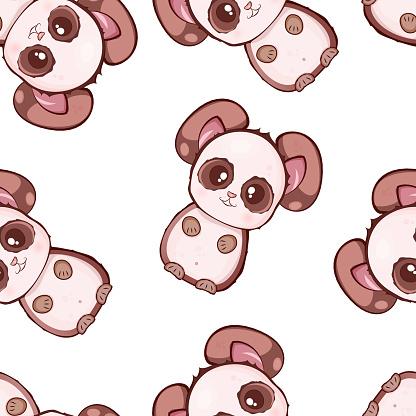 Vector Modèle Sans Couture Avec Des Pandas Kawaii Mignons