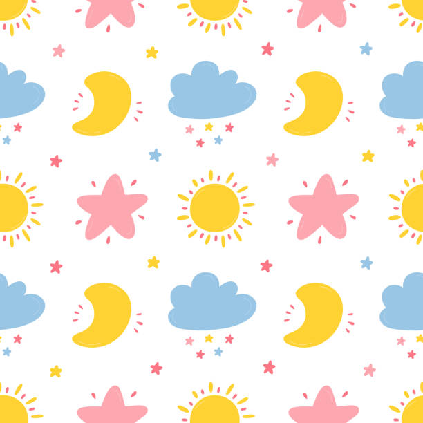 Vector Seamless Pattern with Cute Moon, Cloud, Star and Sun Icons. Sky Background for Kids Fashion, Nursery, Baby Shower Scandinavian Design. Vector Seamless Pattern with Cute Moon, Cloud, Star and Sun Icons. Sky Background for Kids Fashion, Nursery, Baby Shower Scandinavian Design. bedroom patterns stock illustrations