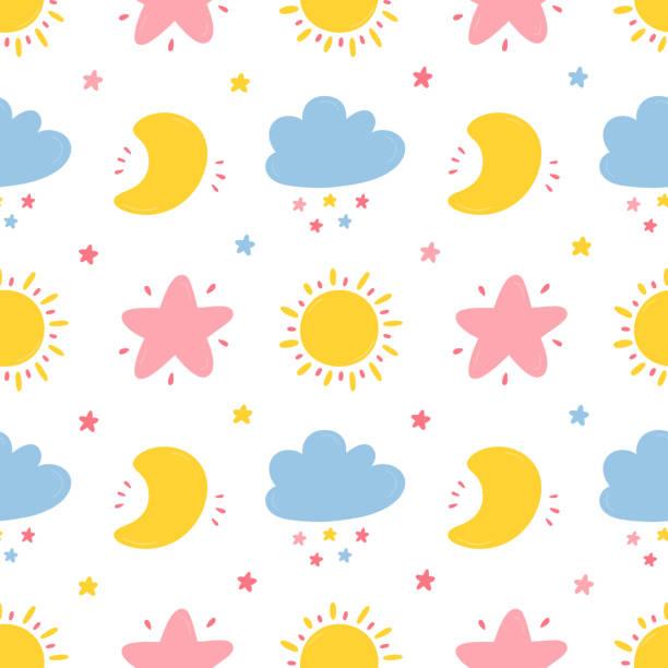 bildbanksillustrationer, clip art samt tecknat material och ikoner med vektor sömlösa mönster med cute moon, moln, star och sön ikoner. sky bakgrund för barn mode, plant skola, baby shower skandinavisk design. - baby sleeping