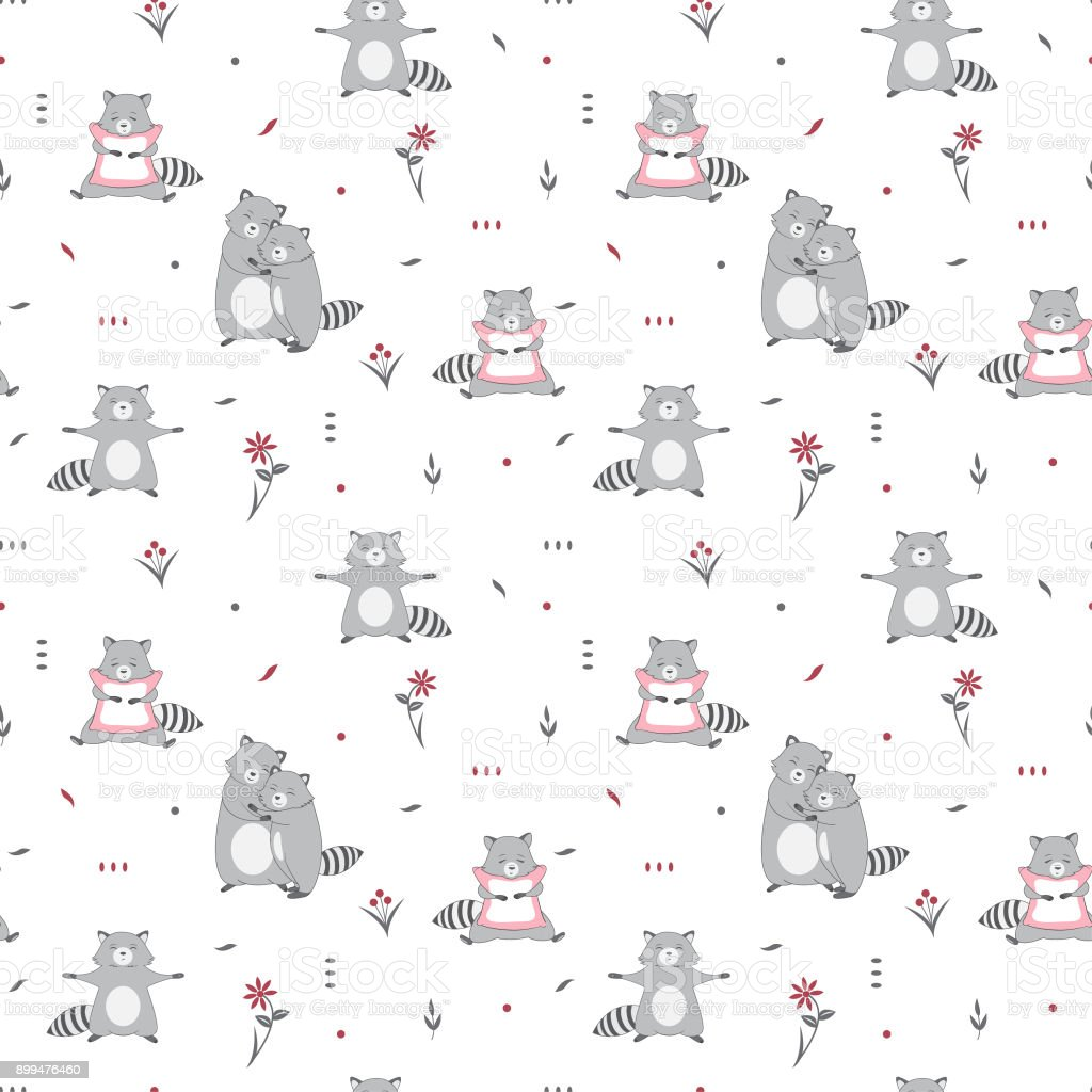 Vector seamless pattern with cute raccoons on white background. Fabric design vector art illustration