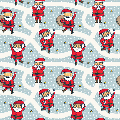 Vector seamless pattern with cute Santa Claus characters