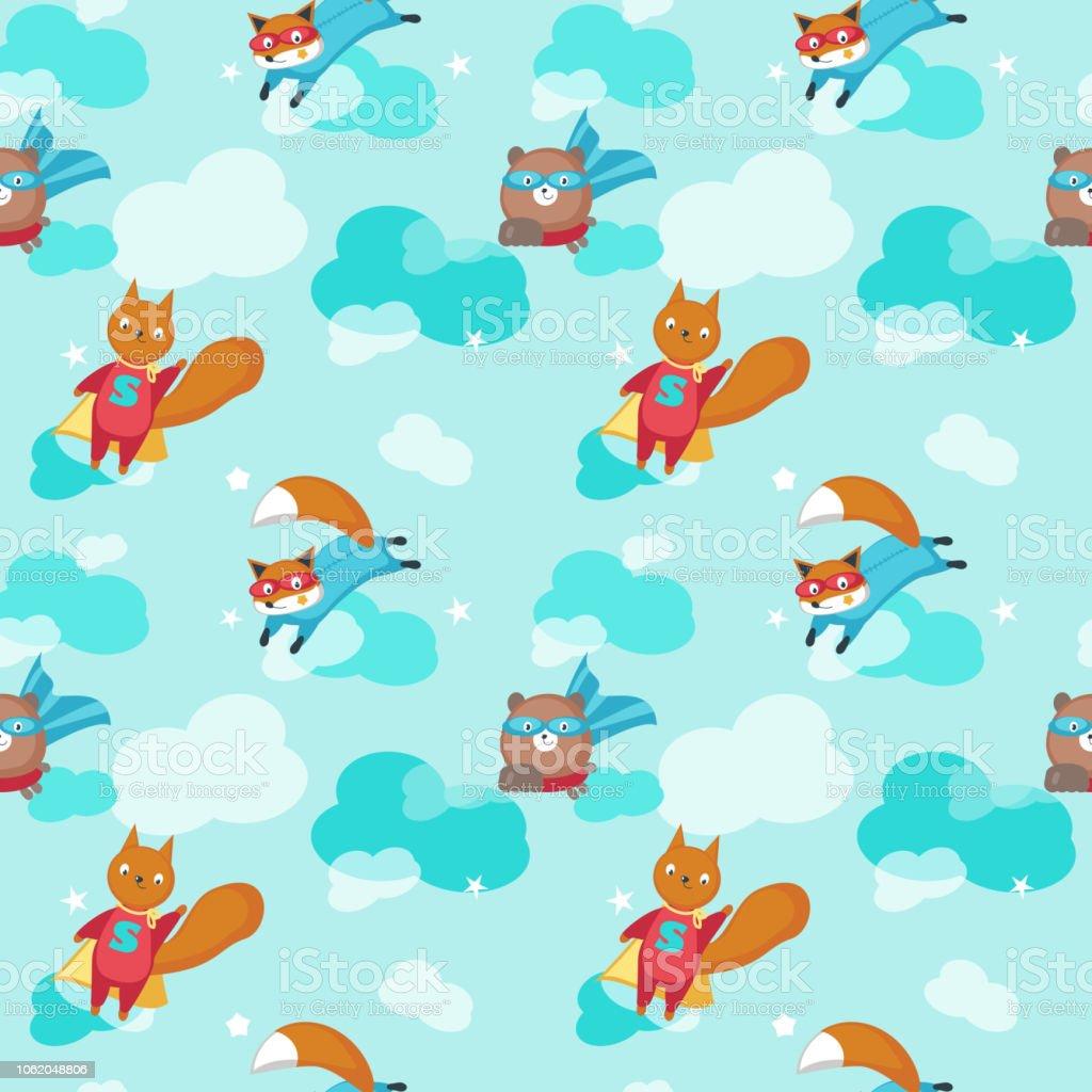 Vector seamless pattern with cute superhero animals vector art illustration