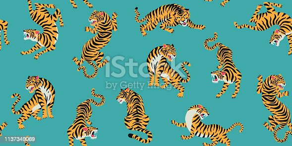 Vector seamless pattern with cute tigers on background. Circus animal show. Fashionable fabric design.
