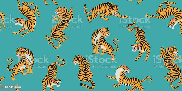 Vector seamless pattern with cute tigers on background fashionable vector id1137349069?b=1&k=6&m=1137349069&s=612x612&h=8ubedcqeoeqtdx8ae9n1r6qrptirikrykmj6lpld zm=
