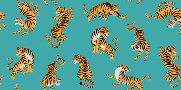 illustrations, cliparts, dessins animés et icônes de vecteur de modèle sans soudure avec des tigres mignons sur le fond. conception de tissu à la mode. - tigre