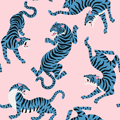Vector seamless pattern with cute tigers on background.
