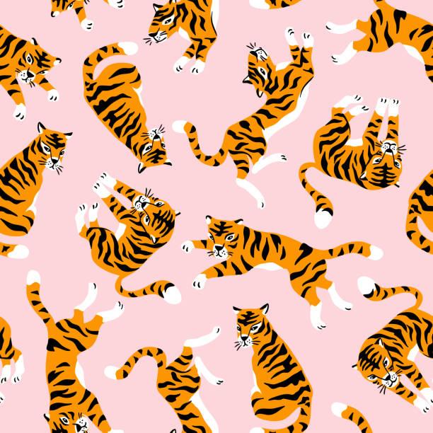 illustrations, cliparts, dessins animés et icônes de modèle sans couture de vecteur avec tigres mignons sur le fond rose. spectacle cirque d'animaux. conception de tissus à la mode. - tigre