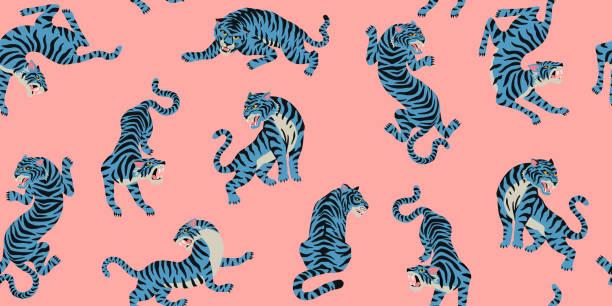 illustrations, cliparts, dessins animés et icônes de motif sans soudure vectoriel avec des tigres mignons sur le fond rose. conception de tissu à la mode. - tigre