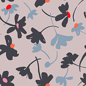 Vector botanical seamless pattern. Background with flat daisies. Collage, cutout paper style. Elegant summer flowers. Good for textile design, fabric, clothes, surface, wallpaper.