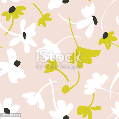 istock Vector seamless pattern with daisies. Bright summer background. 1220489954