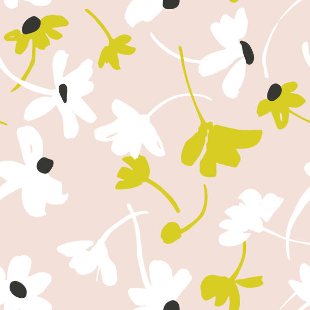 Vector seamless pattern with daisies. Bright summer background. Vector botanical seamless pattern. Background with flat daisies. Collage, cutout paper style. Elegant summer flowers. Good for textile design, fabric, clothes, surface, wallpaper. flower head stock illustrations