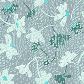 Vector botanical seamless pattern. Background with mix of flat daisies and tiger skin print. Collage, cutout paper style. Dashed lines. Elegant summer flowers with animal fur ornament. Fashion design.