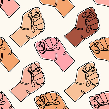 Vector seamless pattern with different colored human hands. Continuous line drawing of strong fist. Arm with clenched fingers. protest. Concept of fight for human rights. Stop racism