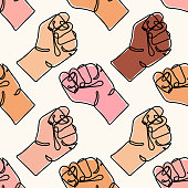 istock Vector seamless pattern with different colored human hands. Continuous line drawing of strong fist. Arm with clenched fingers. protest. Concept of fight for human rights. Stop racism 1247926262
